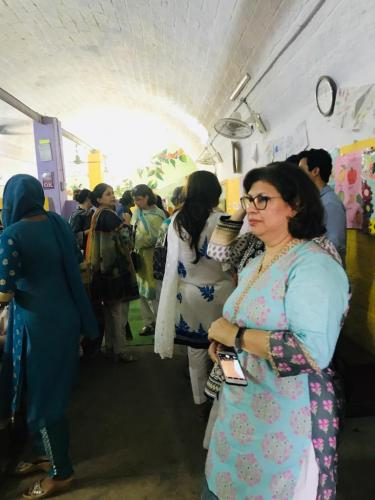 Mela in school displaying handmade items by children